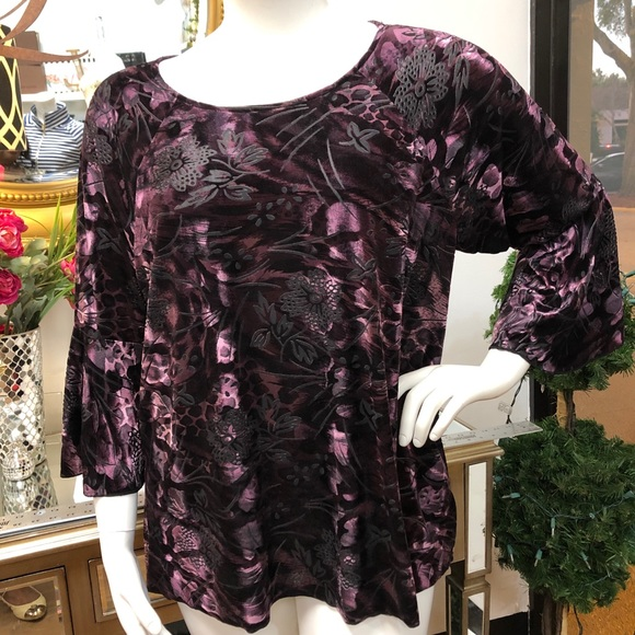 Investments Tops - INVESTMENTS Purple Velveteen Bell Sleeve Top